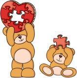 Teddybären mit geformtem Puzzlespiel des Herzens vektor abbildung