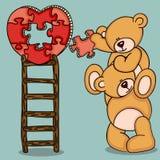 Teddybären mit Herzen formten Puzzlespiel auf Spitzenleiter vektor abbildung