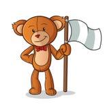 Teddyb?rholdingflaggenmaskottchenvektorkarikatur-Kunstillustration vektor abbildung