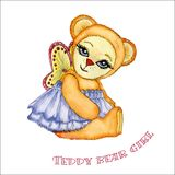 Teddybärmädchenaquarell vektor abbildung