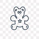 Teddybärvektorikone lokalisiert auf transparentem Hintergrund, linea lizenzfreie abbildung