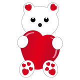 Teddybear branco com coração no fundo branco Fotografia de Stock