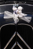 Teddybear bride and groom. Bride and groom of toy bears decoration in a wedding car Stock Photography