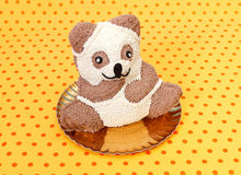 Teddybear cake. White and brown chocolate teddybear cake on dotted background Royalty Free Stock Photography