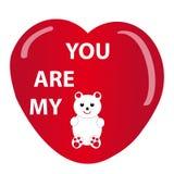 Teddybear e coração no fundo branco Imagens de Stock