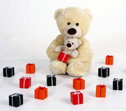 Teddybear with gift boxes with ribbon Royalty Free Stock Image