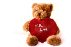 Teddybear - Heart. A teddybear eith big red heart. Image may be useful for Valentines Royalty Free Stock Photography