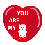 Teddybear and heart on white background Stock Images
