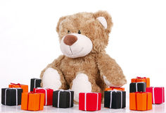 teddybear with presents Stock Images