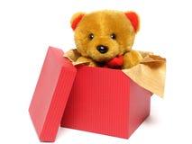 Teddybeer binnen een Doos Stock Foto