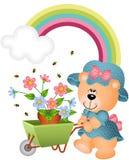 Teddybeer in de tuin Stock Foto