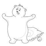 Teddybeer die met een hoofdkussen, contouren geeuwt Stock Afbeeldingen