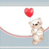 Teddybeer en ballonhart stock illustratie