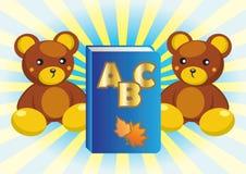 Teddybeer en boek. Stock Foto