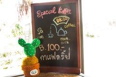 Teddybeer en koffiemenu Royalty-vrije Stock Fotografie