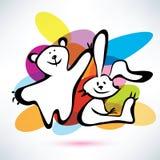 Teddybeer en konijntjespictogrammen Stock Afbeelding