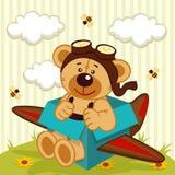 Teddybeer gemaakt vliegtuig Royalty-vrije Stock Afbeeldingen