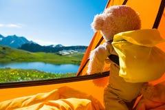 Teddybeer het kamperen Stock Afbeelding