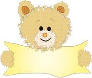 Teddybeer met banner Stock Fotografie