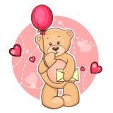 Teddybeer met bericht Stock Fotografie