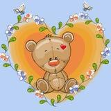 Teddybeer met bloemen Stock Afbeeldingen
