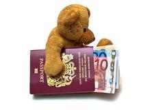 Teddybeer met Contant geld en Passp stock foto