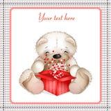 Teddybeer met een doos van hearts2 royalty-vrije illustratie