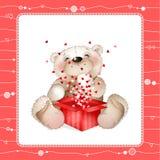 Teddybeer met een doos van hearts4 stock illustratie
