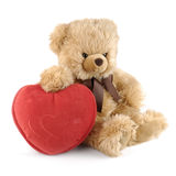 Teddybeer met een groot rood hart Stock Afbeelding