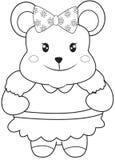 Teddybeer met een lint kleurende pagina Royalty-vrije Stock Afbeeldingen
