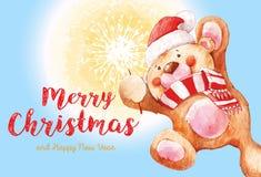 Teddybeer met een sterretje De Kerstman _2 Kerstmis en Nieuwjaarachtergrond 2017 Vrolijke Kerstmis en de gelukkige kaart van de N Stock Fotografie