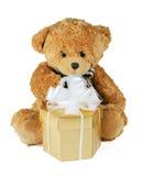 Teddybeer met gift Royalty-vrije Stock Afbeelding