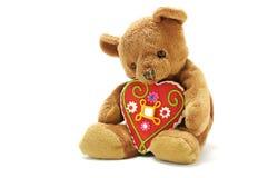 Teddybeer met groot liefje stock fotografie