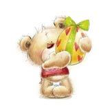 Teddybeer met het paasei Prentbriefkaar met beer en paasei Gelukkige Pasen Hand getrokken die teddybeer op witte achtergrond word Royalty-vrije Stock Afbeelding