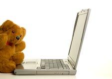 Teddybeer met laptop Stock Foto's