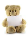 Teddybeer met leeg blad Stock Afbeeldingen