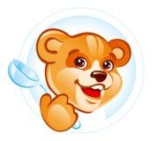 Teddybeer met lepel royalty-vrije illustratie