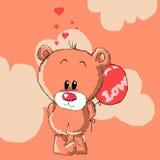 Teddybeer met rode ballon Stock Afbeeldingen