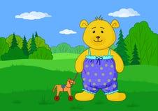 Teddybeer met stuk speelgoed horsy op open plek Royalty-vrije Stock Foto