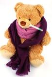 Teddybeer met thermometer Stock Afbeelding