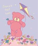 Teddybeer met vlieger Stock Afbeelding