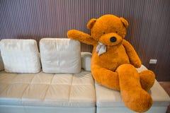 Teddybeer op de bank Stock Foto's