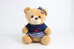 Teddybeer op de witte achtergrond Royalty-vrije Stock Fotografie