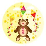 Teddybeer op een gele achtergrond Royalty-vrije Stock Afbeeldingen