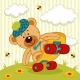 Teddybeer op een skateboard Royalty-vrije Stock Foto's