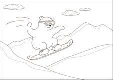 Teddybeer op een snowboard, contouren Stock Foto