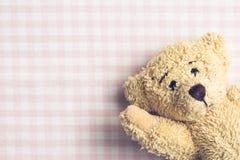 Teddybeer op geruite achtergrond Royalty-vrije Stock Foto's
