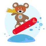 Teddybeer op snowboard. Stock Afbeeldingen