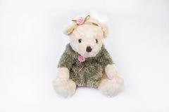 Teddybeer op wit Stock Afbeelding