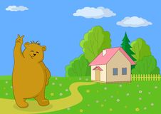 Teddybeer tegen het eigen huis Stock Foto